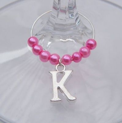 Initial Alphabet Letter Wine Glass Charm - Beaded Style